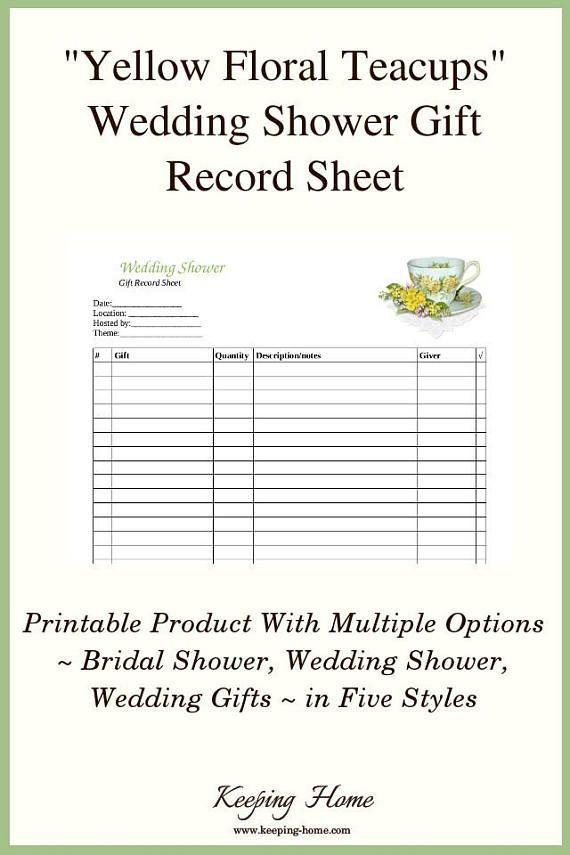 Yellow Teacups, Wedding Gift Recorder, Bridal Shower, Wedding Shower
