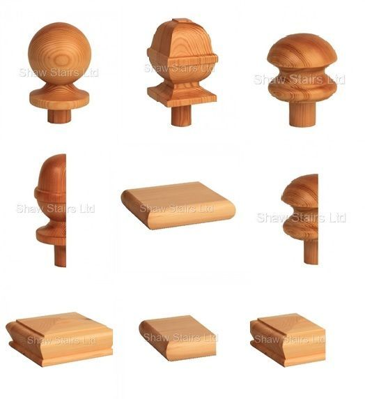 Details About Stair Post Caps Ball Acorn Mushroom Pyramid Flat Square 90mm Full Or Half Stair Posts Post Cap Newel Post Caps