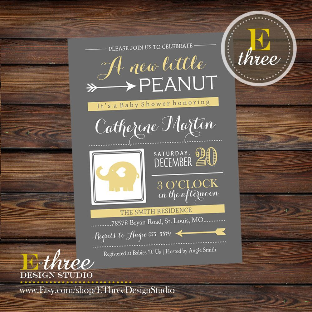 Elephant Baby Shower Invitations - Yellow Gray and White Gender ...