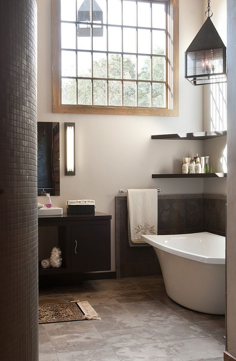 Floating shelves in the corner above the bathtub | // d e c o r ...