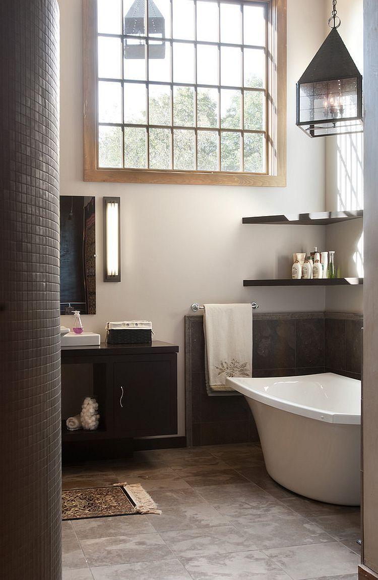 Floating shelves in the corner above the bathtub | // d e c o r ...