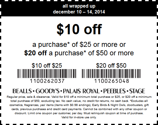 picture relating to Peebles Coupons Printable referred to as Pinned December 10th: $10 off $25 even further at #Bealls, #Goodys