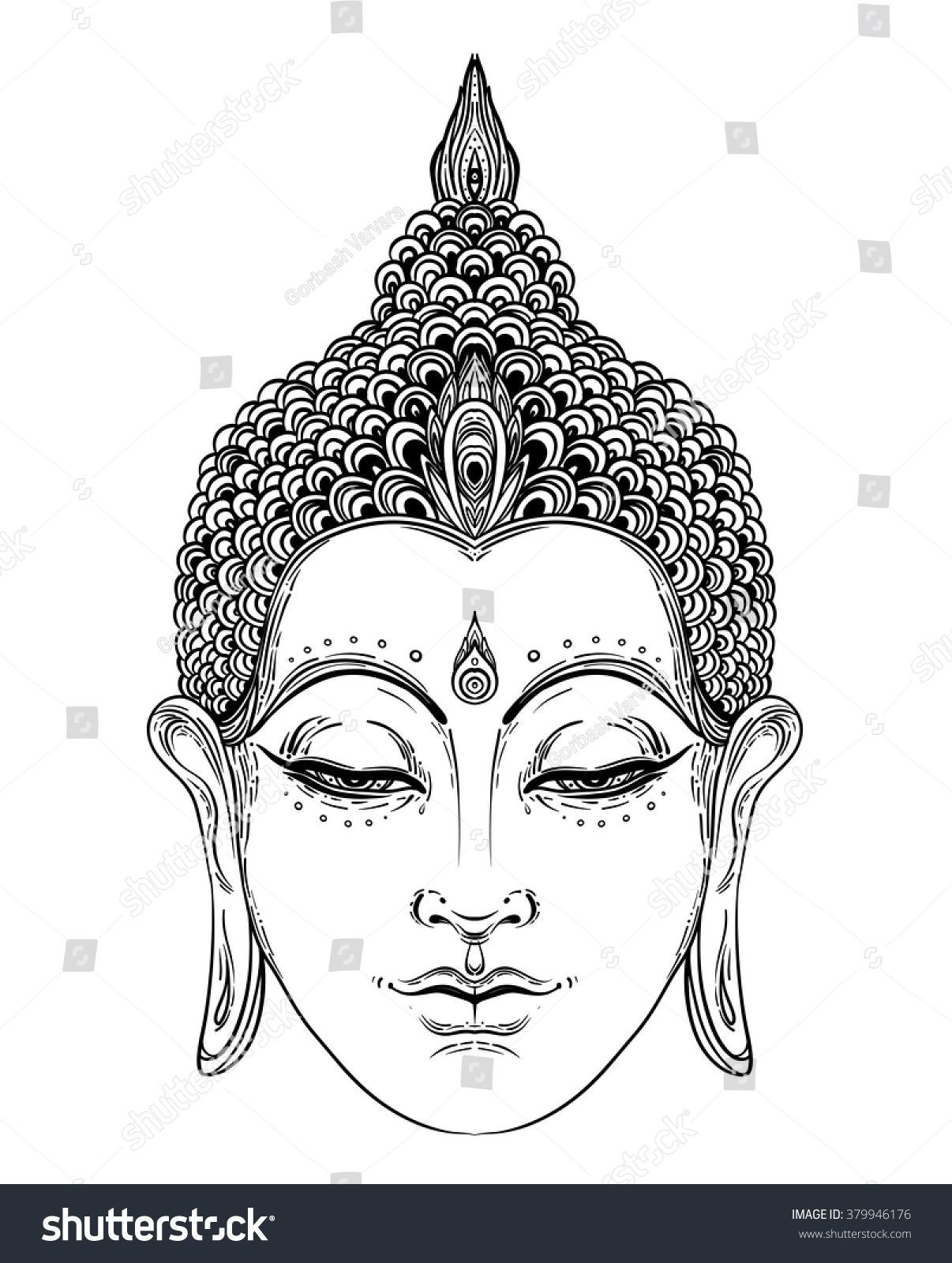 f5010cadc699d Buddha face isolated on white. Esoteric vintage vector illustration. Indian,  Buddhism, spiritual art. Hippie tattoo, spirituality, Thai god, ...