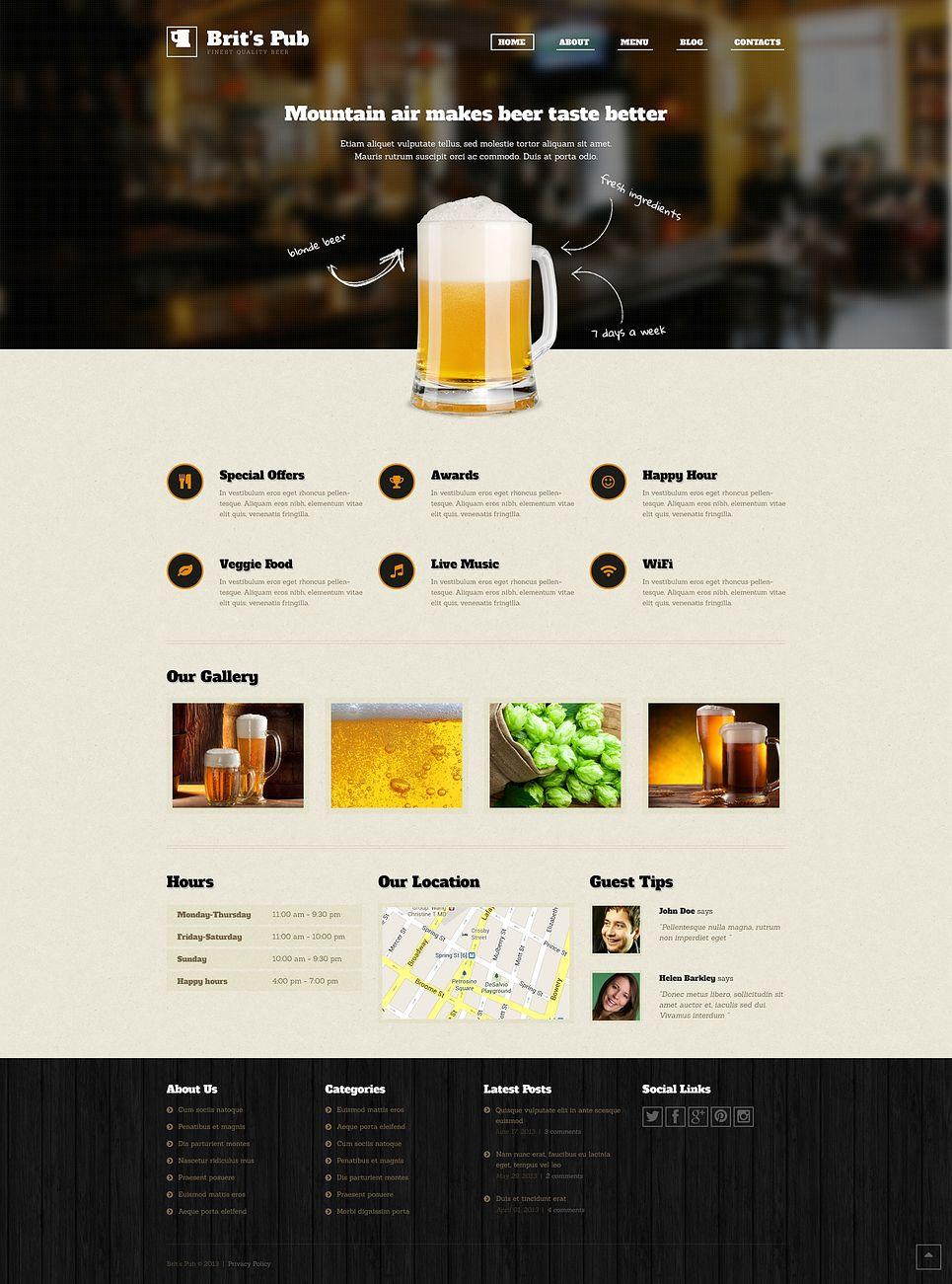 Beer Pub WordPress Theme 46902 Пивная упаковка