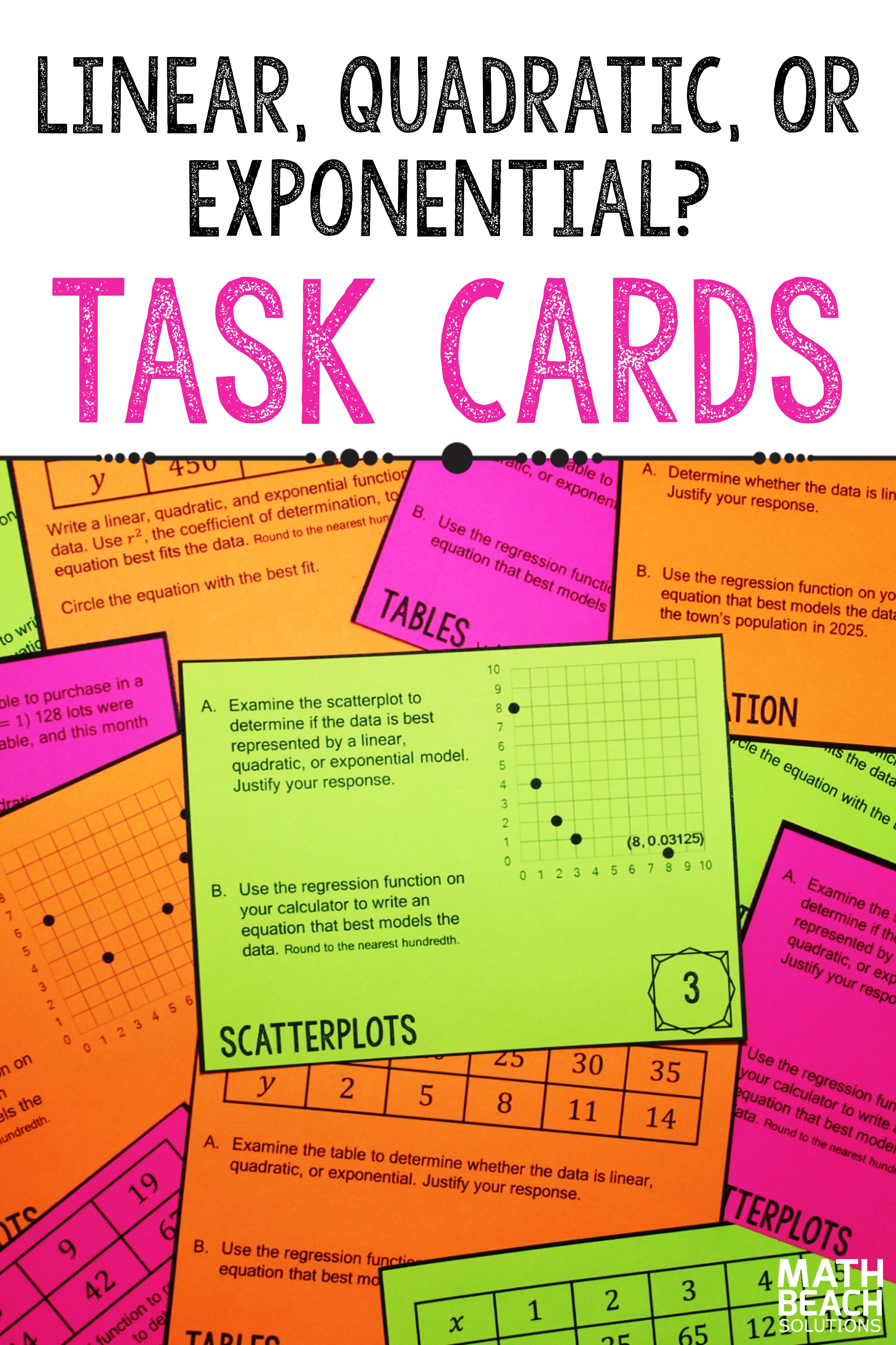 Linear Quadratic Or Exponential Task Card Activity