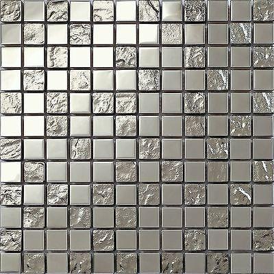 30x30cm Silber Edelstahl und texturiert Glas Mosaik Fliesen Matte - mosaik fliesen badezimmer