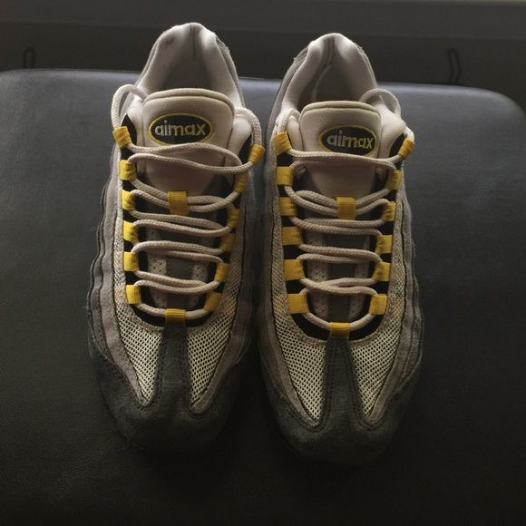 Air Max Yellow & grey. Normal wear from wearing for a year. No holes or rips. Size 6Y. I'm a 7 in women's & can fit them. Do not have the original box. Nike Shoes