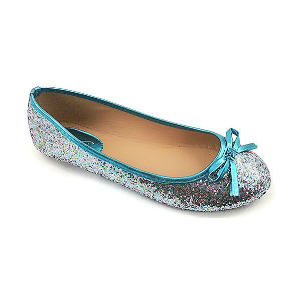 fa9562cb45ce Ositos Shoes Teal Glitter Flat ( 5.49) ❤ liked on Polyvore featuring shoes