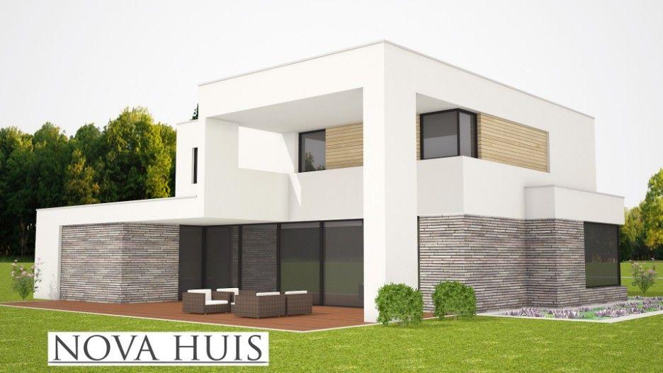 Moderne kubistische villa met overdekte terassen onderhoudsarm