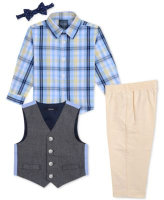 6c1941401 Nautica Baby Boys 4-Pc. Plaid-Print Shirt, Vest, Pants & Bowtie Set ...