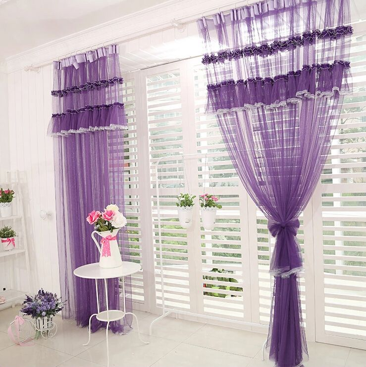 Purple Lace Curtains Romantische Lila Raffen Spitze