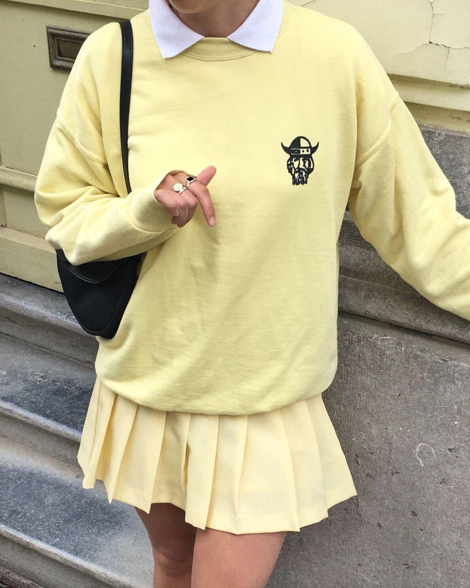 Tennis Skirt Collar Layering Sweatshirt Layering Pastel Outfit Mini Skirt Brandy Melville Vint In 2020 Tennis Skirt Outfit Collared Shirt Outfits Crewneck Outfit