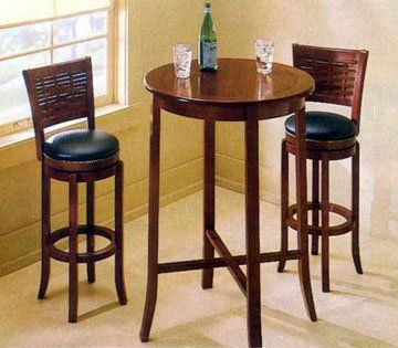 Small Round Pub Table With Storage 2 Chairs Kitchen Breakfast Nook Set