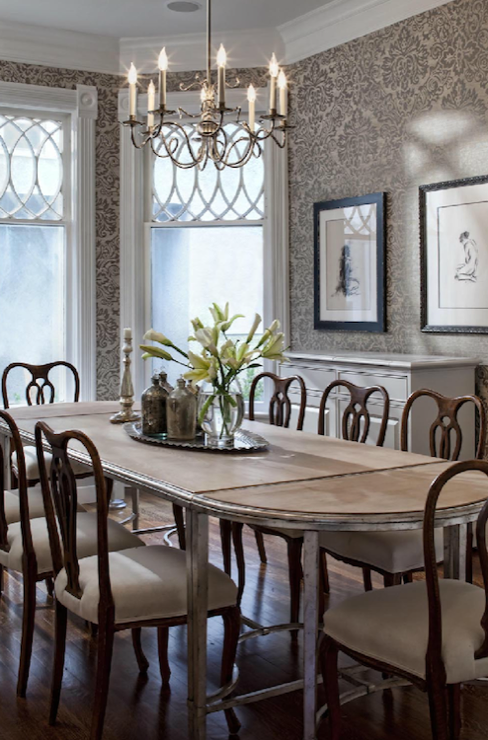 Swedish Chairs Transitional Dining Room Buckingham Interiors Dining Room Wallpaper Elegant Dining Room Victorian Dining Room Decor