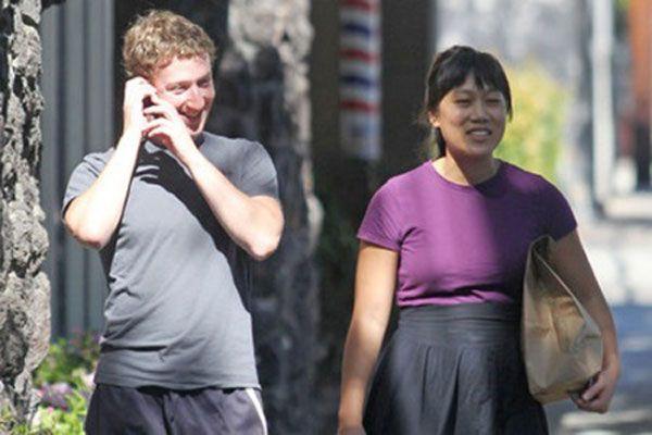 Facebook founder Mark Zuckerberg and his girlfriend