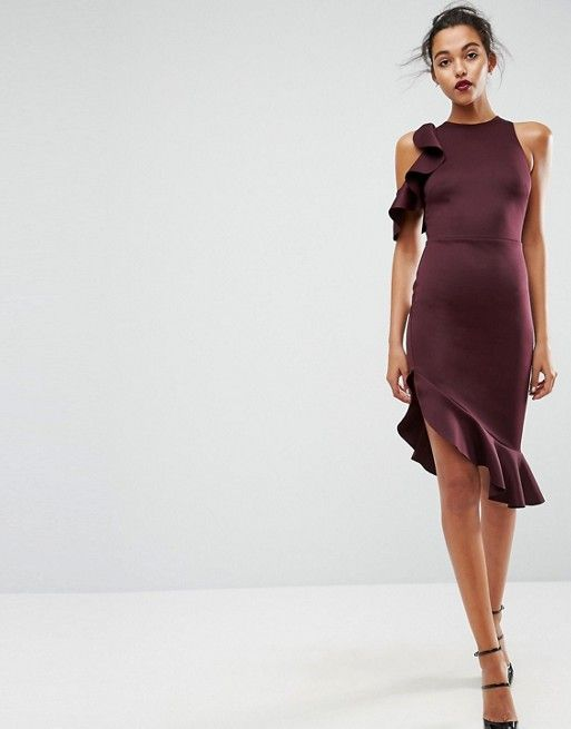 ASOS | ASOS Cold Shoulder Ruffle Pephem Midi Dress | Style Wishlist ...