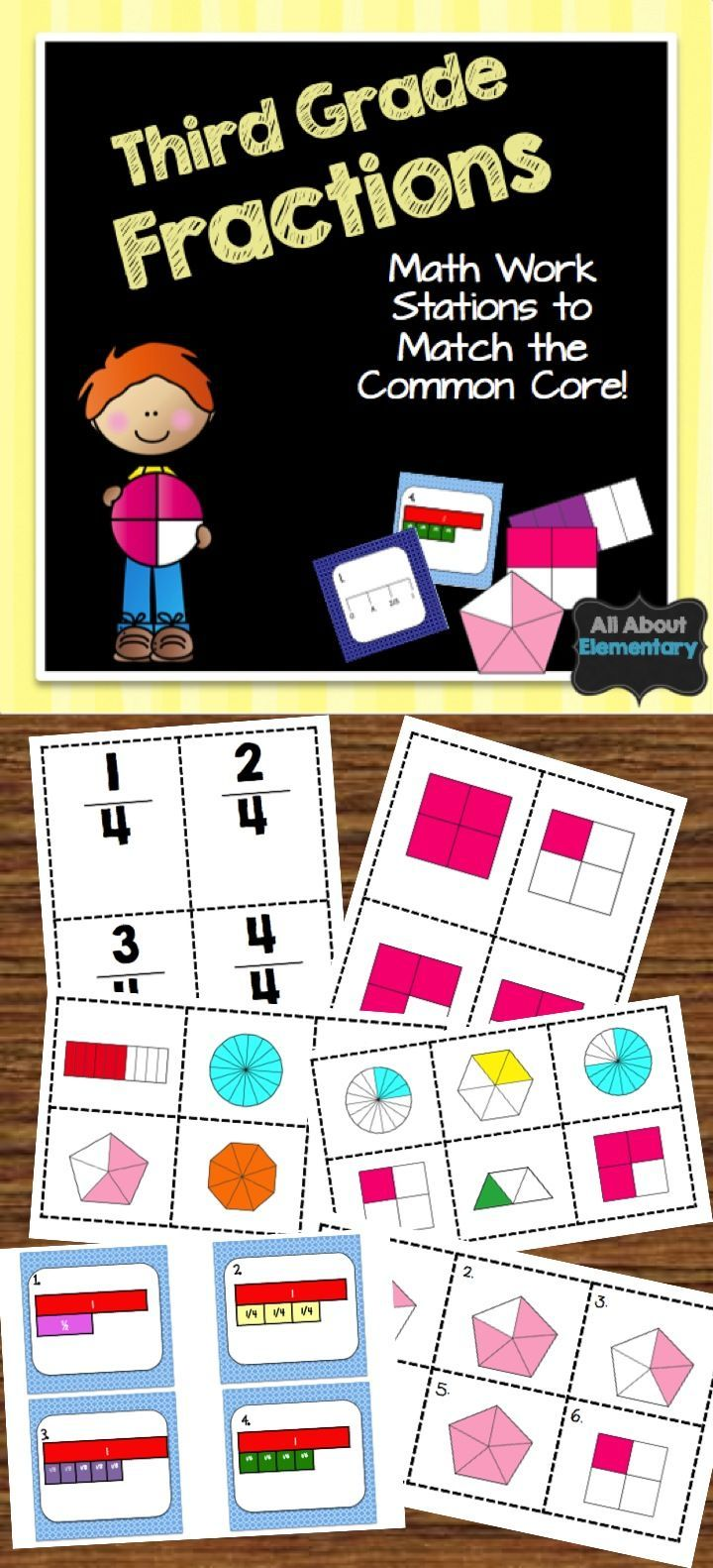 This fraction pack is great for math work stations. It contains games that match the third grade common core standards for number and operations for fractions.