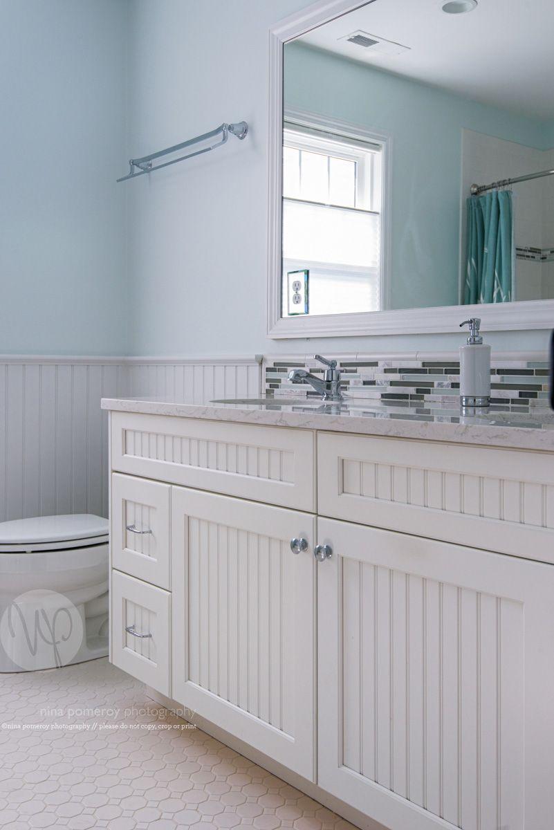 Bathroom Doublesink Beadboard Vanity Largemirror Tiledbacksplash Serene Bathroom Bathroom Backsplash Beadboard
