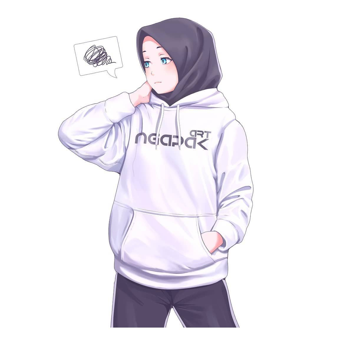 Pin By Reallyweirdhooman On Hijab Cartoon Girl In 2020 Anime Muslim Anime Hoodie Anime Muslimah