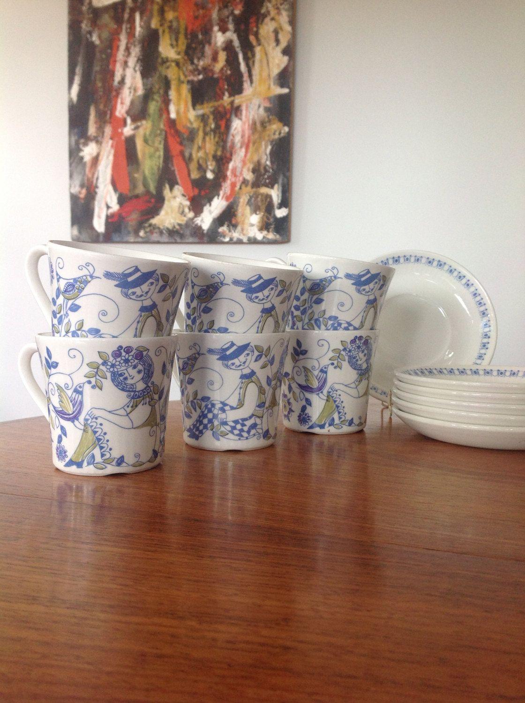 Vintage kitchenware - Figgjo Flint Lotte Turi Design Tea Cups And Saucers Norway 1960s Vintage Kitchenware By Myvintagecave