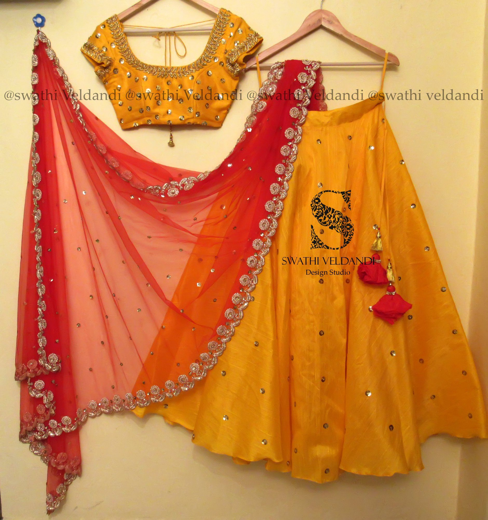 a592d80a48 Yellow+Red perfect combination... Beautiful yellow color lehenga and blouse  with red net dupatta. Lehenga and blouse with hand embroidery mirror work.