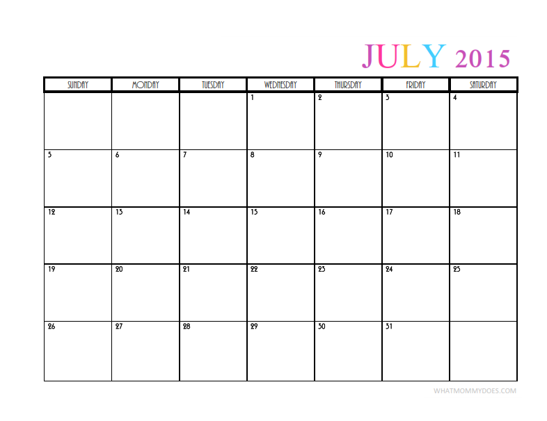 2015 Monthly Calendar Templates Whatmommydoes On Pinterest