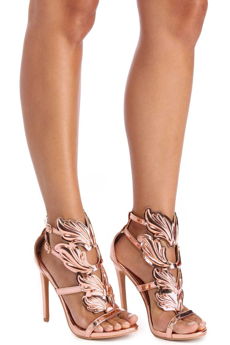 Rose Gold Winged Goddess Heels Windsorcloud Shoes And