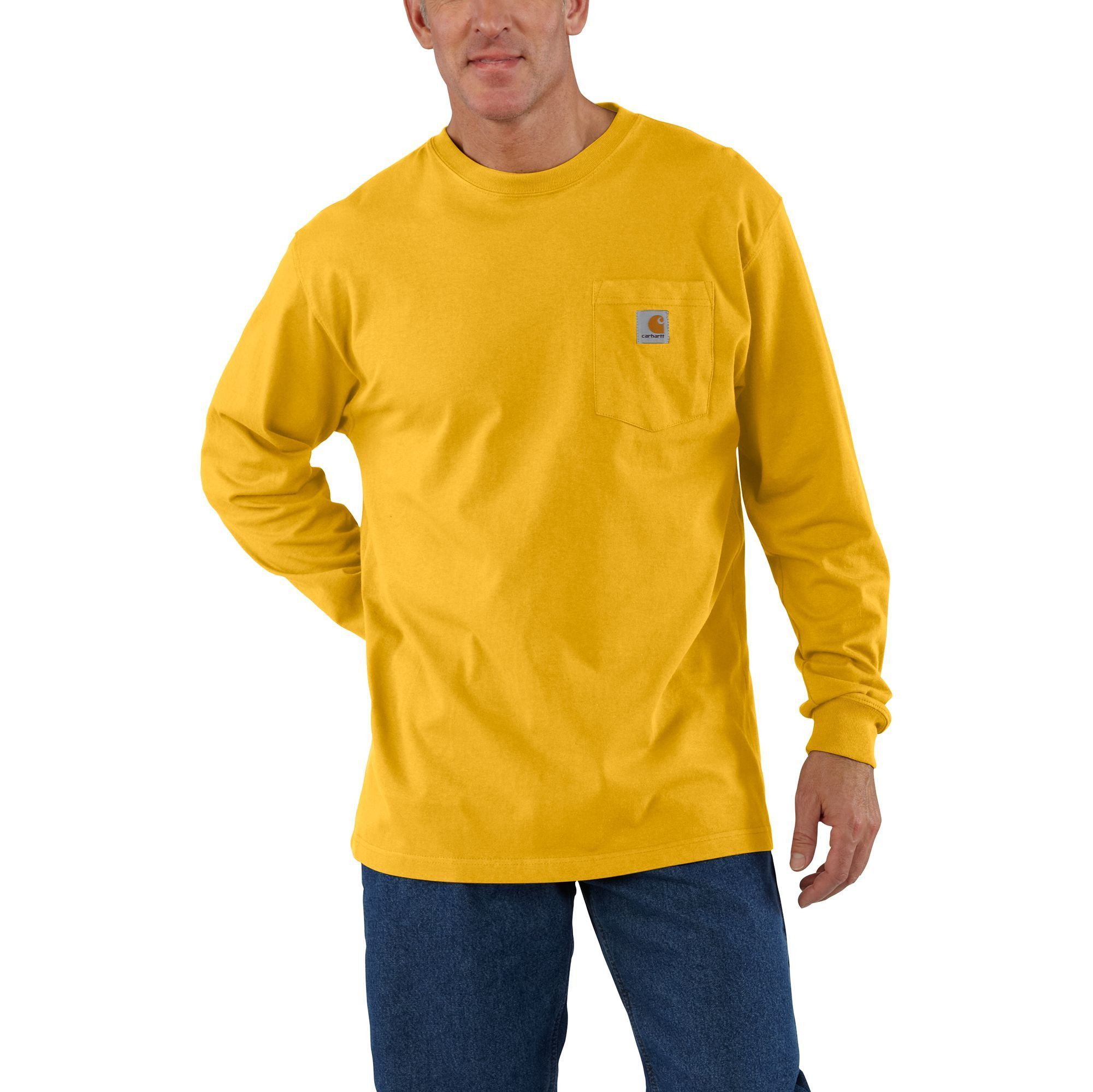 Heather Grey Long Sleeve Workwear Crewneck T-Shirt Carhartt K126