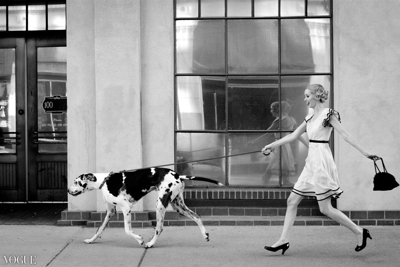 "Stacia Lugo Vogue Italia Portfolio  ""Vintage Mood | Stroll"" Model: Kristin Heggli | Makeup: Adriana Fontes | Hair: Krista Doud | Great Dane: Falkor (owner-Linda Spear)"