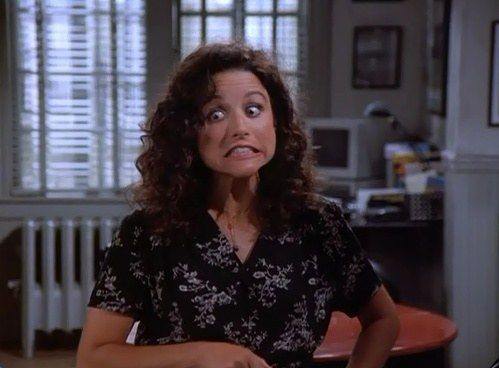 Jerry What Your Considering This Elaine Contemplates Rubbing Out A Barking Dog In The Engagement Elaine Benes Seinfeld Elaine Seinfeld