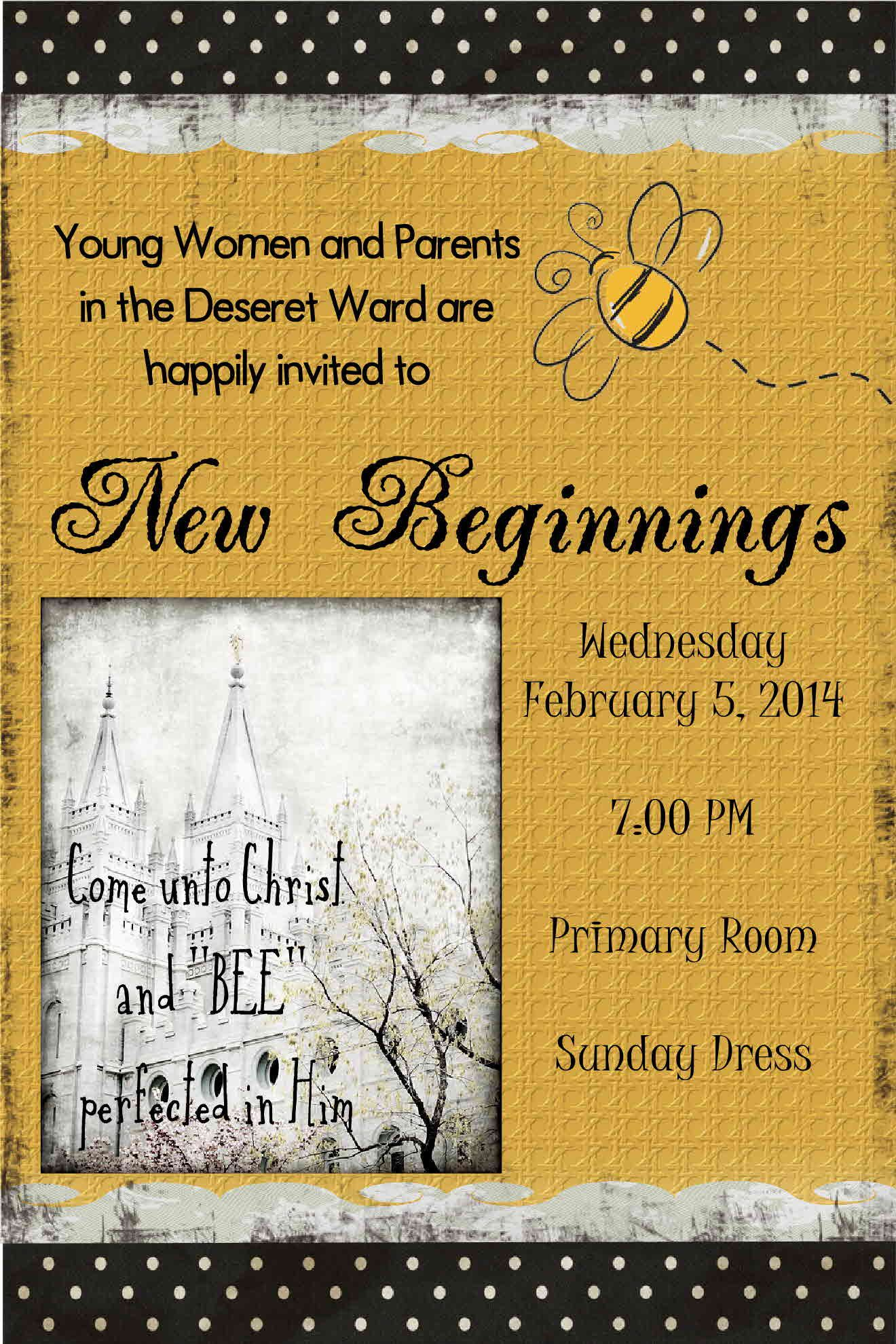 17 Best Ideas About New Beginnings On Pinterest: YW New Beginnings Invite Come Unto Christ And BEE