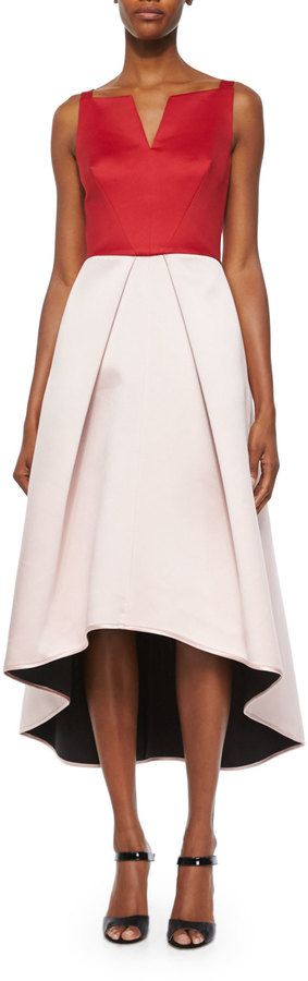 Milly Sleeveless Colorblock High-Low Dress