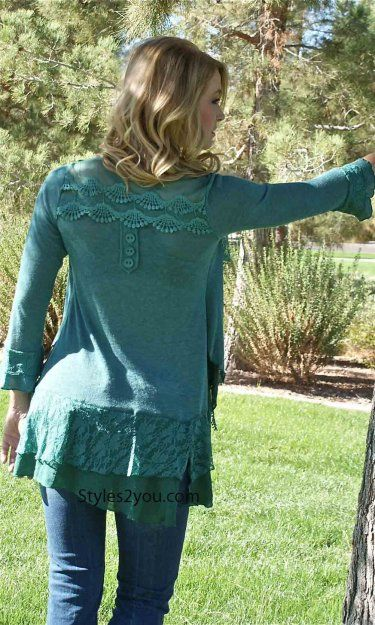 Pretty Angel Clothing Layered Vintage Blouse In Teal  $75
