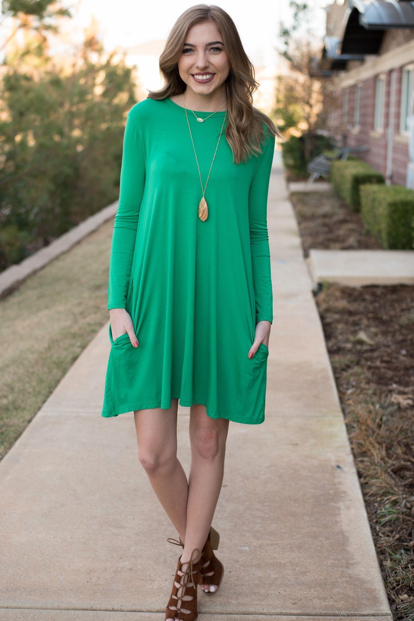 662a8189628db Piko long sleeve swing dress kelly green | My Style | Piko dress ...