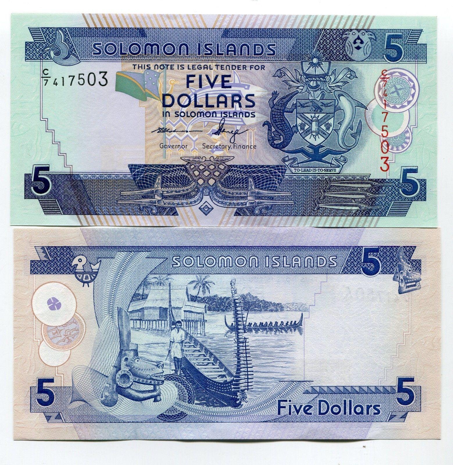 Solomon Islands 5 Dollars Nd C 7 P 26 New Unc
