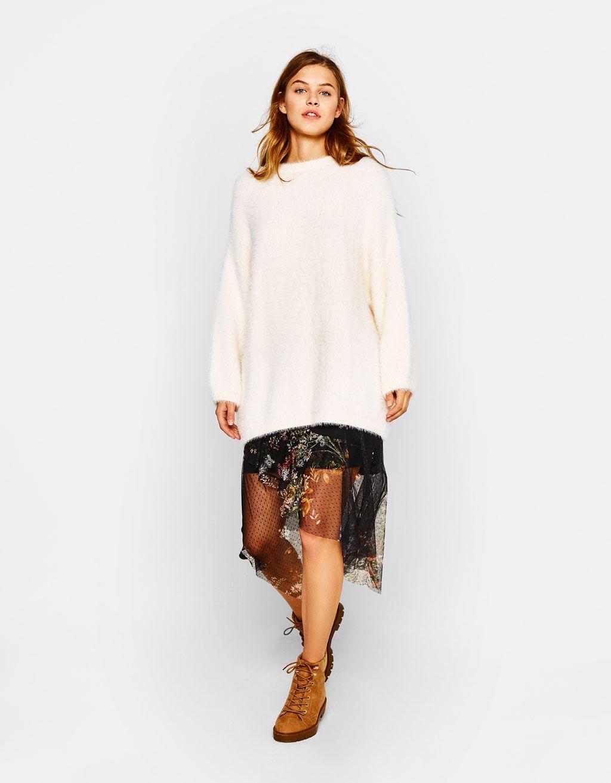Oversized fuzzy sweater - Knitwear - Bershka United Kingdom ... bc8621db4