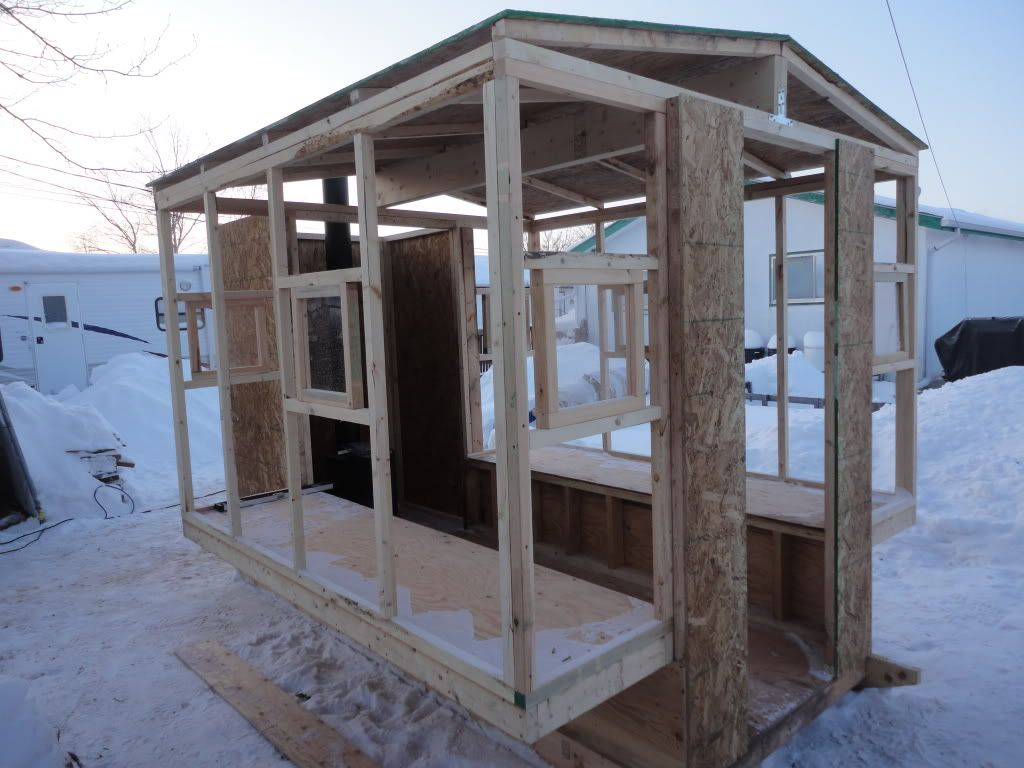 My ice shack updated pics ice house pinterest ice for Ice fishing shacks