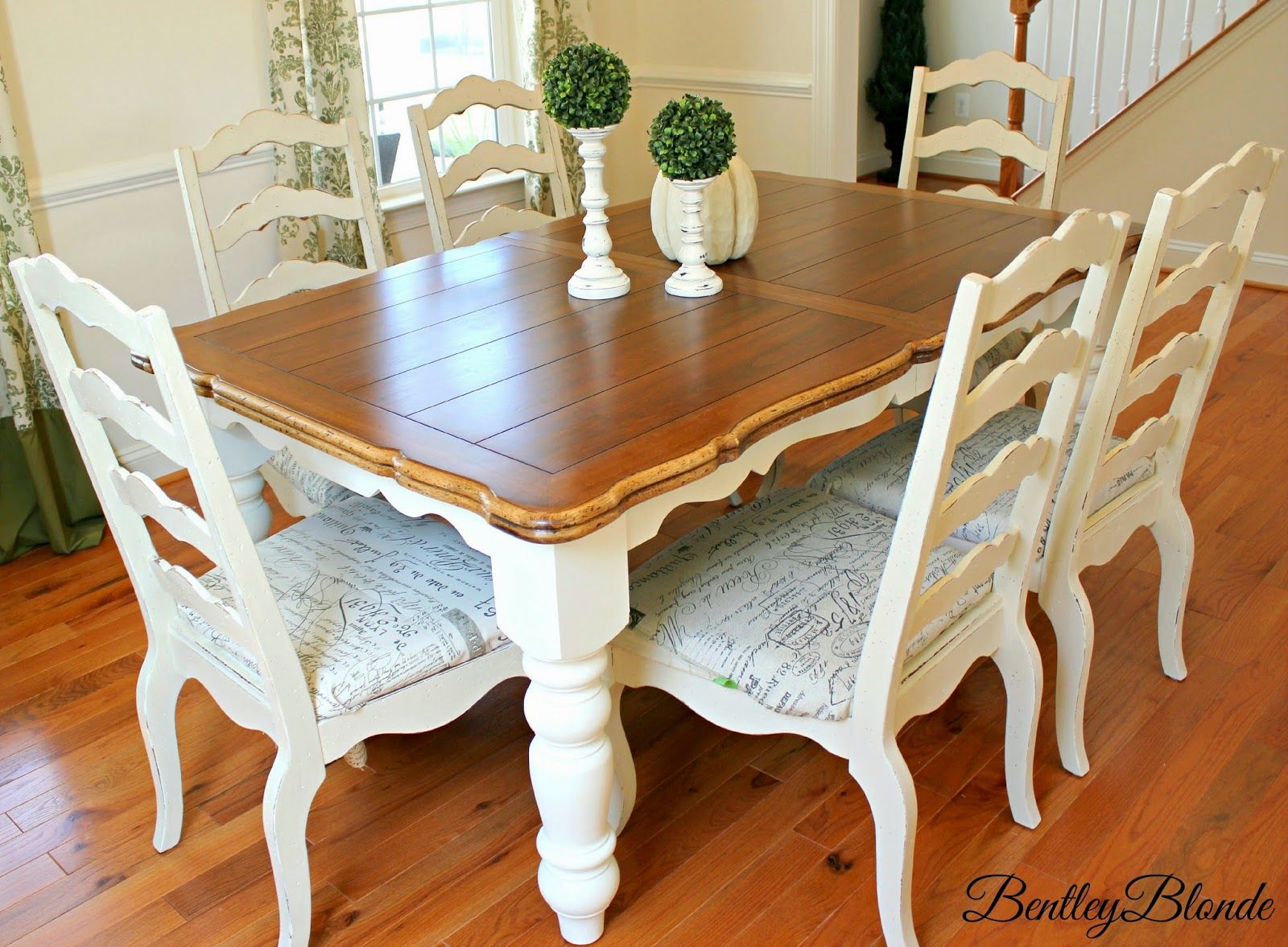 Bentleyblonde diy farmhouse table dining set makeover