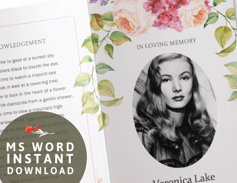 Funeral Program Template - memorial program peach rose flower - how to make a funeral program in word