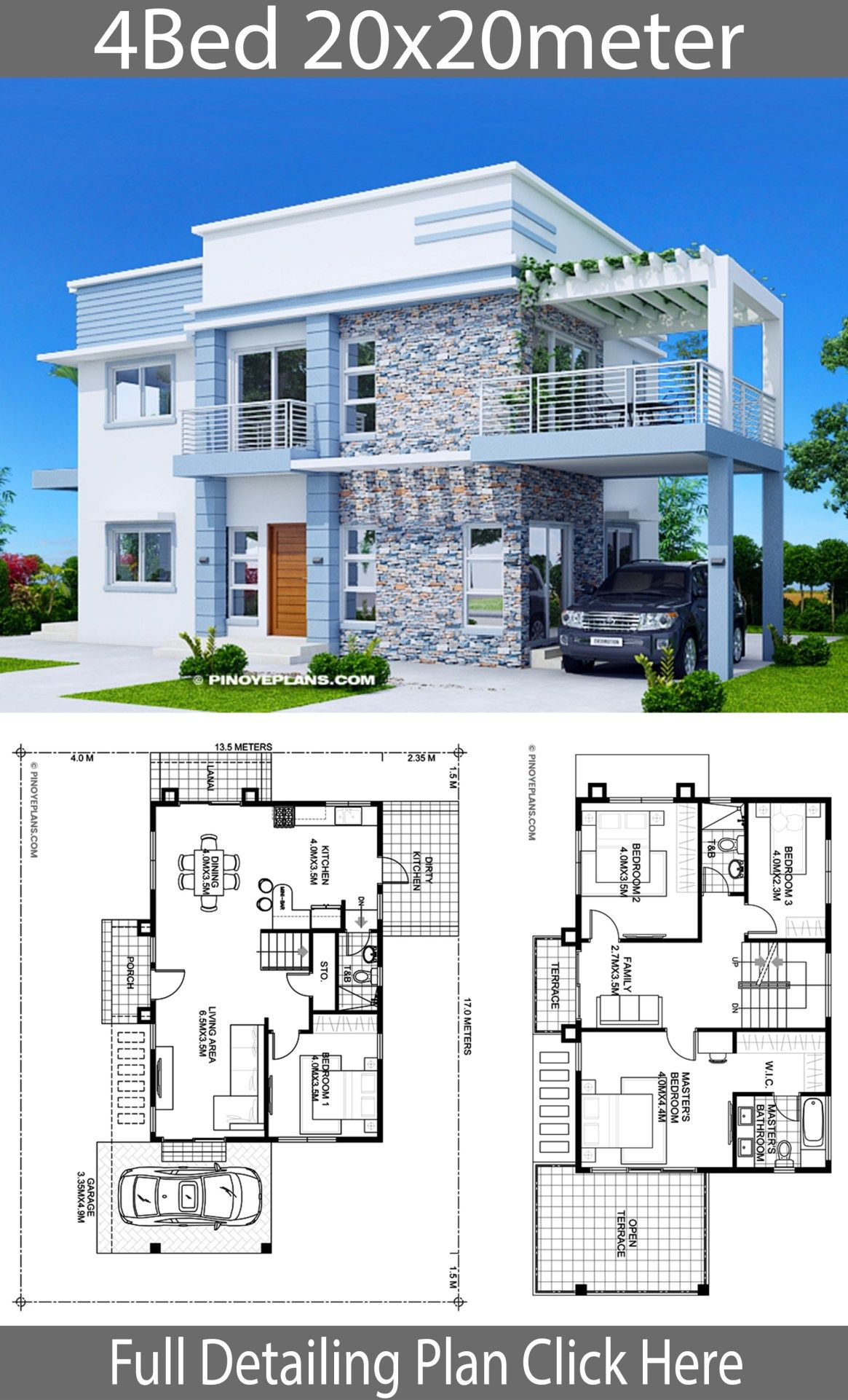 Home design plan 20x20m with 4 Bedrooms is part of Home design plan - Home design plan 20x20m with 4 Bedrooms