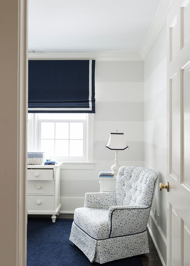 Nursery Stripe Walls With White And Gray Stripewalls Paintedstripewalls Allison Hennessy