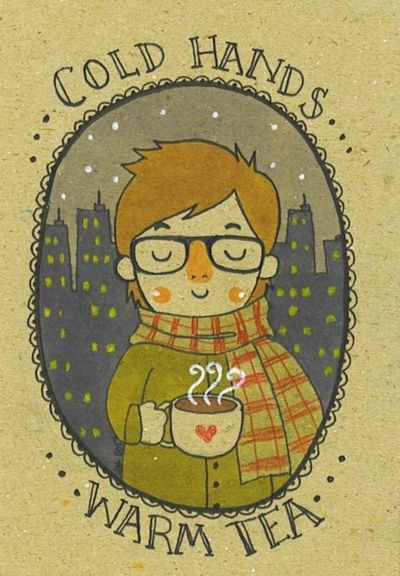 TEA ♡ Cold Hands . .. Warm Tea illustration from The Tiny Hobo