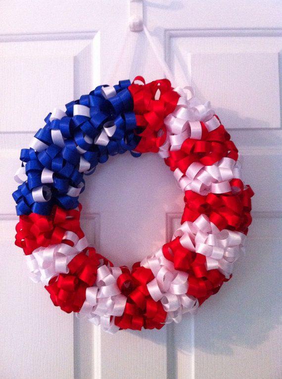 American Flag Ribbon Wreath by WreathsbyLJP on Etsy
