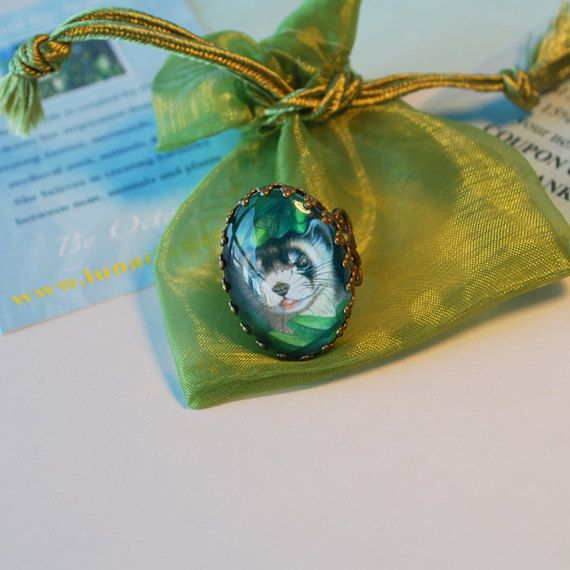 $12.58 Ferret Ring Cute Ferret Animal Ring by Lunarianart on Etsy