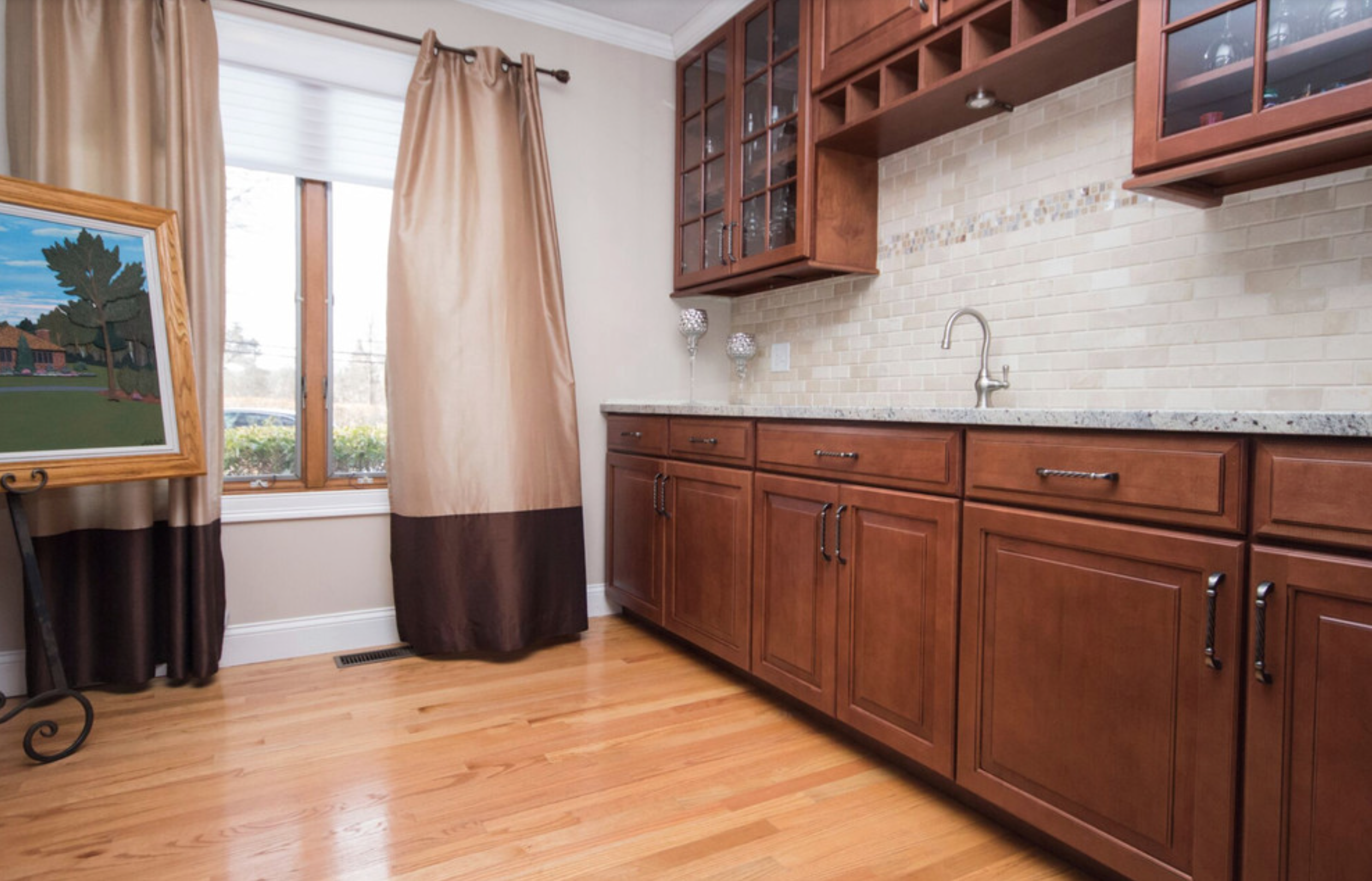 Maple Cabinet wet bar, Maple cabinets, White granite ... on Maple Cabinets With White Granite Countertops  id=58110