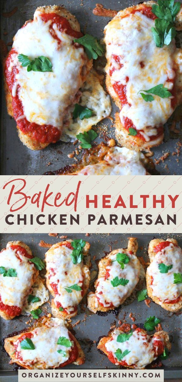 Healthy Baked Chicken Parmesan #chickenparmesan