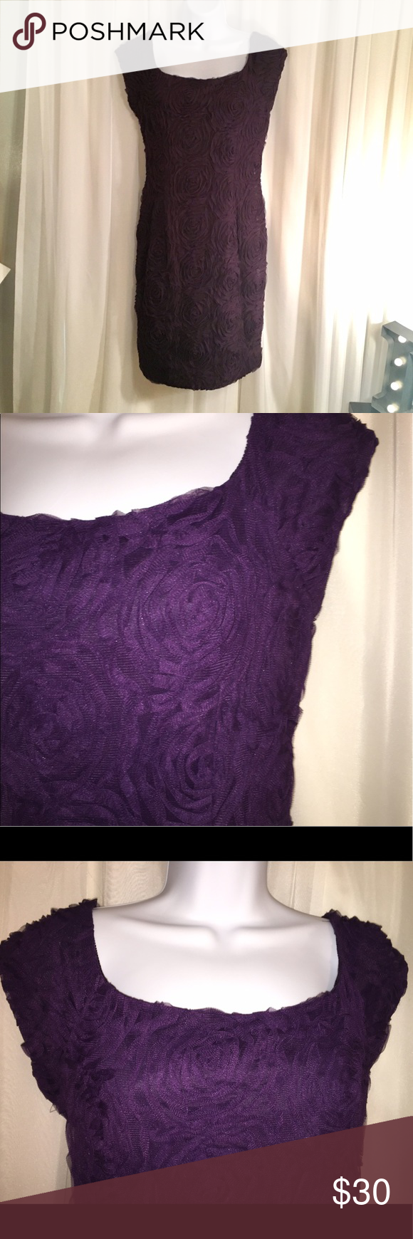 Katherine Howard Purple textured tulle dress. 6p. Katherine Howard size 6 petite dress. Beautiful rosette texture. Great for a formal event or wedding. Katherine Howard Dresses Wedding