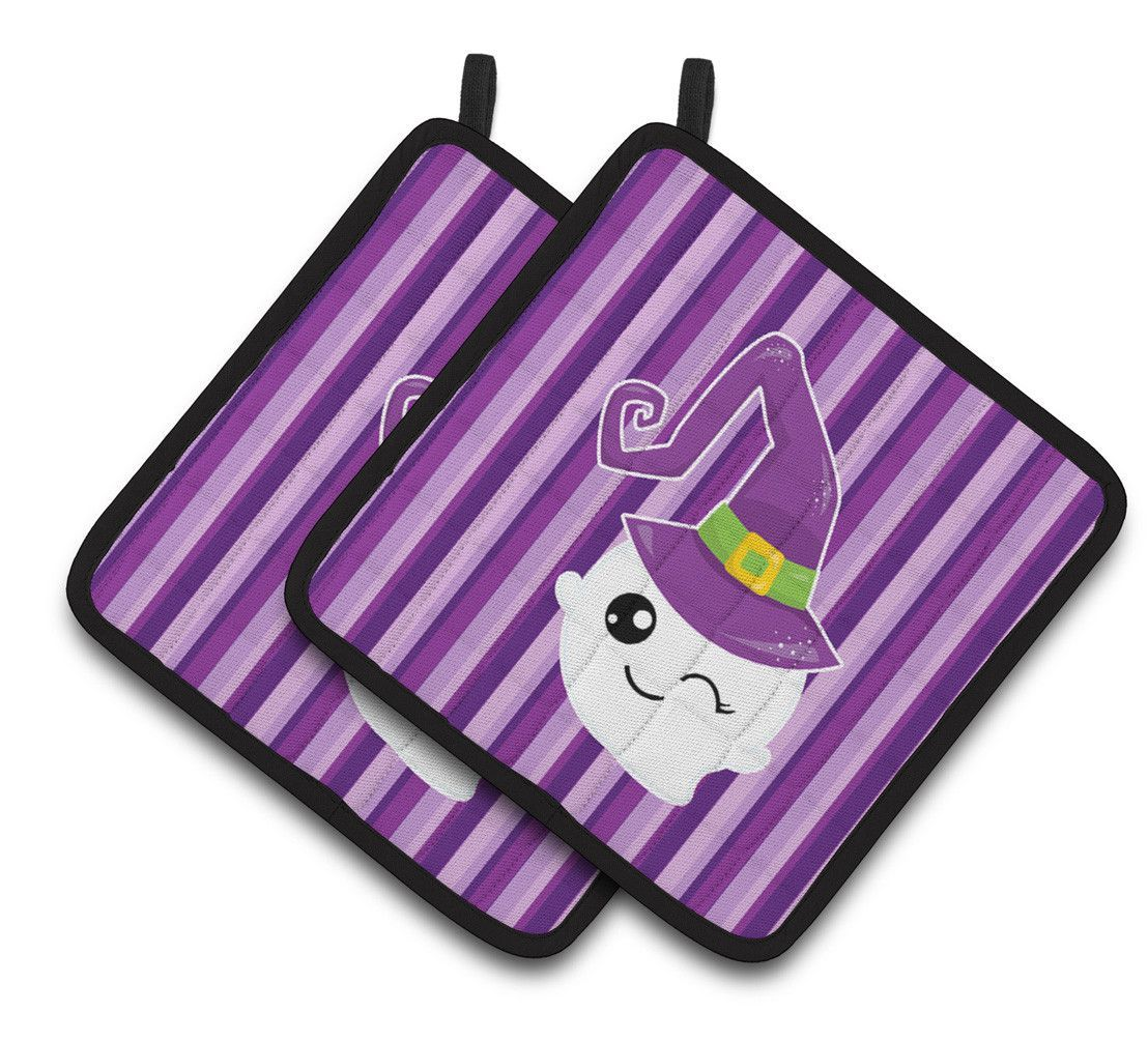 Halloween Ghost Witch Pair Of Pot Holders BB6966PTHD
