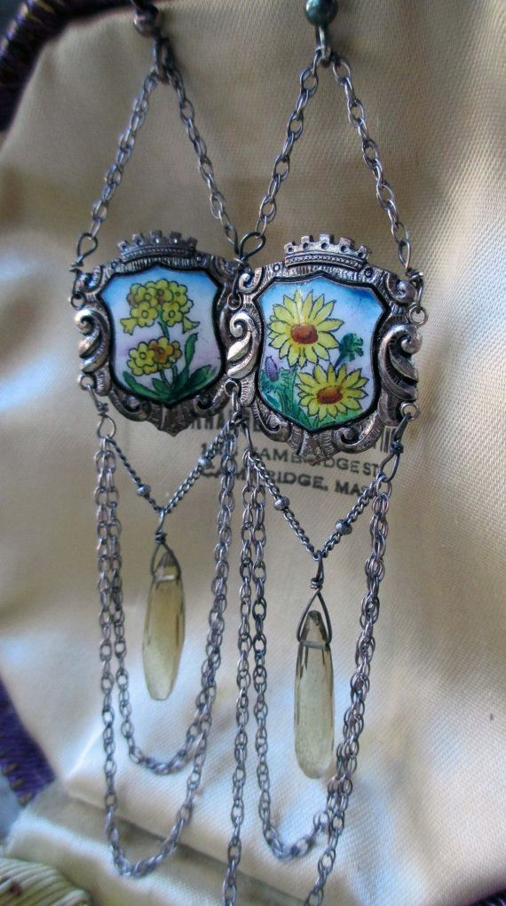 'daisies and daffodils' vintage assemblage earrings with enamel panels, citrine and chains by The French Circus on Etsy