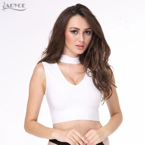 65fbb9a52ba ADYCE 2017 Sexy women black white pink bandage tank Crop tops knitted thick  rayon Luxury Celebrity Evening party Vest Clubwear
